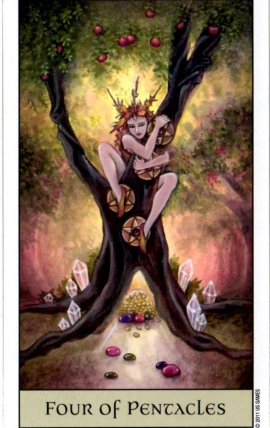 Crystal Visions Tarot Four of Pentacles